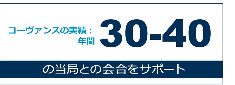 規制当局とのミーティング:年間30〜40 回